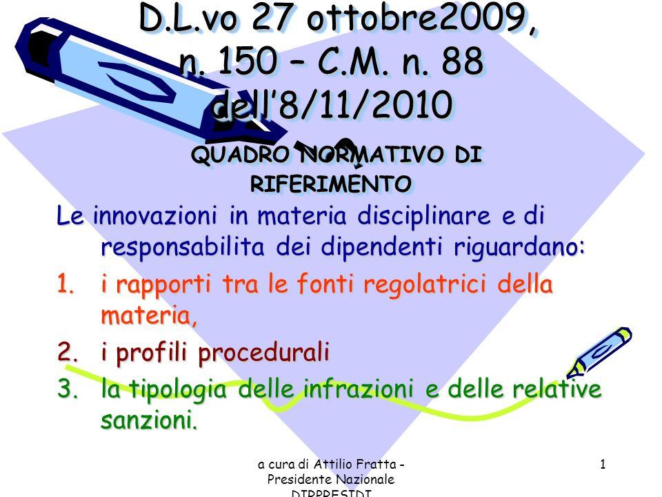 a cura di Attilio Fratta - Presidente Nazionale DIRPRESIDI 1 D.L.vo 27 ottobre2009, n. 150 – C.M. n. 88 dell8/11/2010 QUADRO NORMATIVO DI RIFERIMENTO