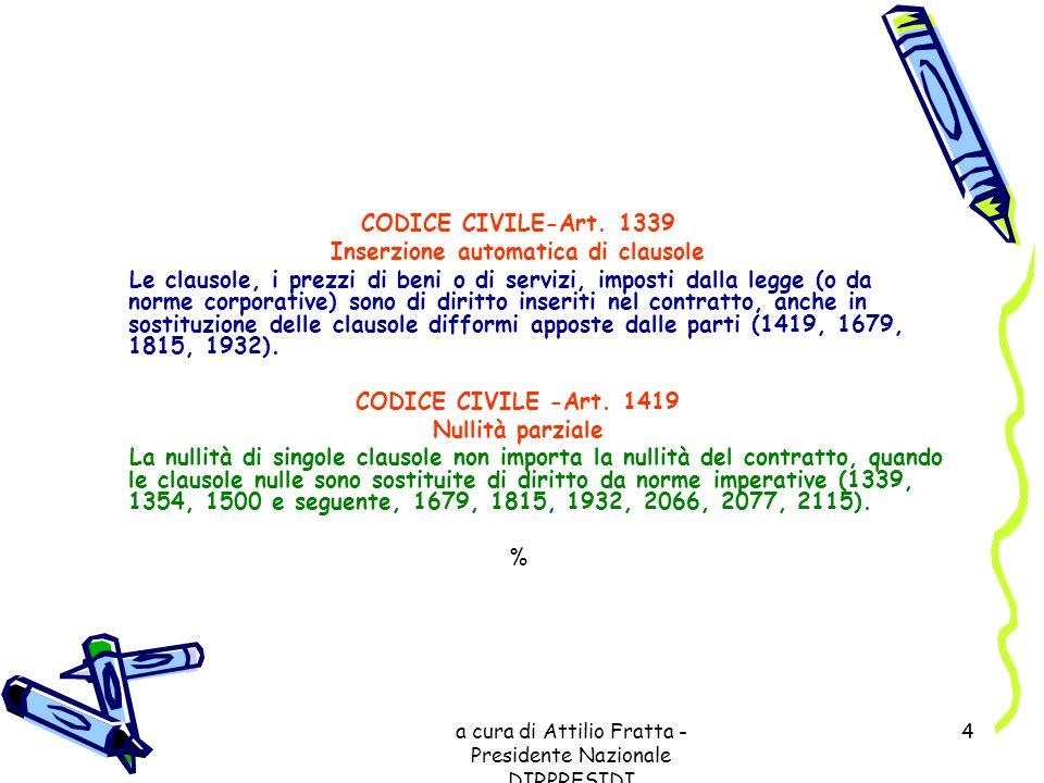 a cura di Attilio Fratta - Presidente Nazionale DIRPRESIDI 4 CODICE CIVILE-Art. 1339 Inserzione automatica di clausole Le clausole, i prezzi di beni o