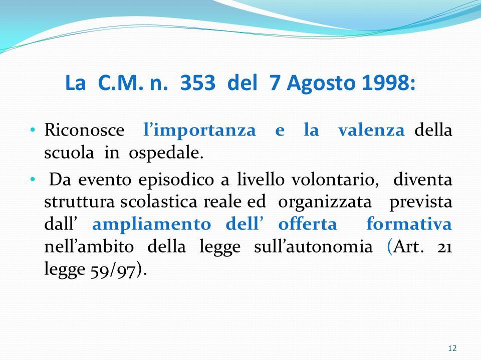 12 La C.M. n. 353 del 7 Agosto 1998: Riconosce limportanza e la valenza della scuola in ospedale. Da evento episodico a livello volontario, diventa st