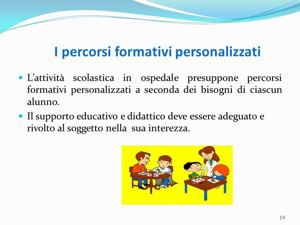 14 I percorsi formativi personalizzati Lattività scolastica in ospedale presuppone percorsi formativi personalizzati a seconda dei bisogni di ciascun
