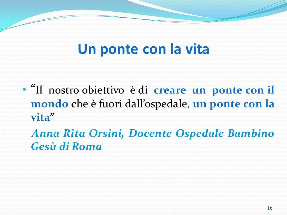 16 Un ponte con la vita Il nostro obiettivo è di creare un ponte con il mondo che è fuori dallospedale, un ponte con la vita Anna Rita Orsini, Docente