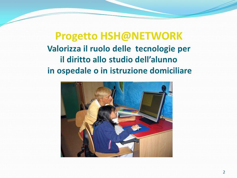 2 Progetto HSH@NETWORK Valorizza il ruolo delle tecnologie per il diritto allo studio dellalunno in ospedale o in istruzione domiciliare 2