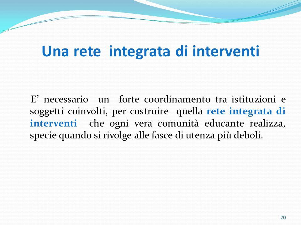 Una rete integrata di interventi E necessario un forte coordinamento tra istituzioni e soggetti coinvolti, per costruire quella rete integrata di inte