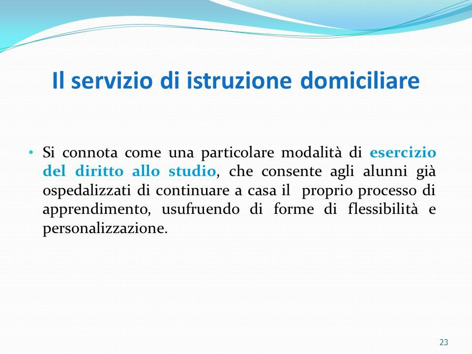 Il servizio di istruzione domiciliare Si connota come una particolare modalità di esercizio del diritto allo studio, che consente agli alunni già ospe