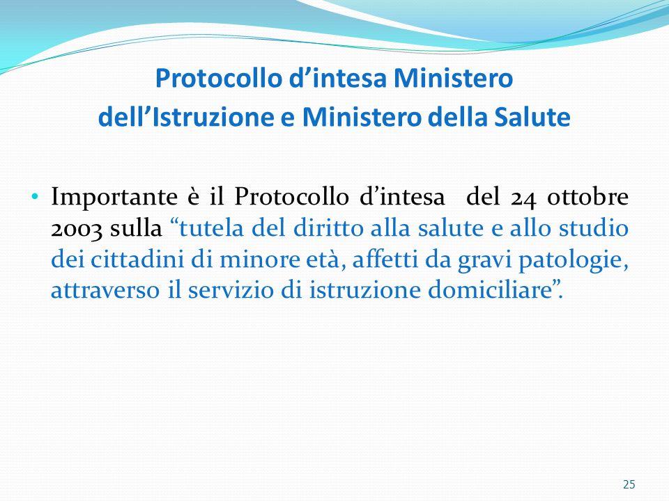 Protocollo dintesa Ministero dellIstruzione e Ministero della Salute Importante è il Protocollo dintesa del 24 ottobre 2003 sulla tutela del diritto a