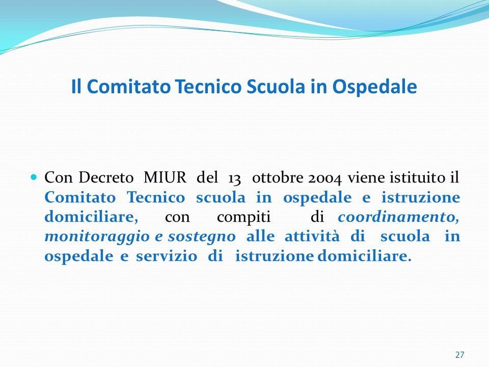 27 Il Comitato Tecnico Scuola in Ospedale Con Decreto MIUR del 13 ottobre 2004 viene istituito il Comitato Tecnico scuola in ospedale e istruzione dom