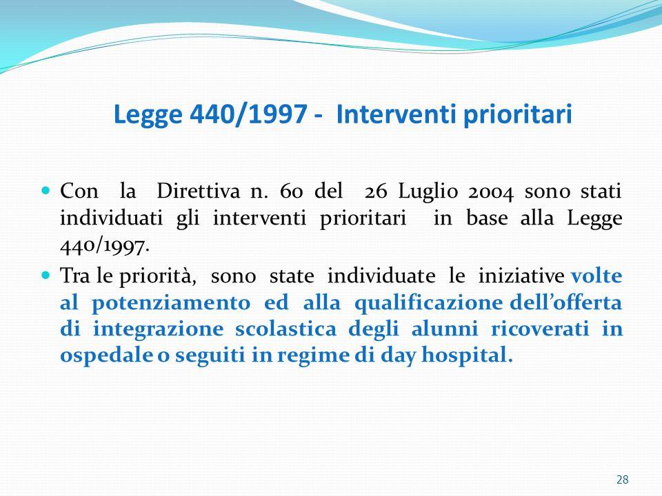 28 Legge 440/1997 - Interventi prioritari Con la Direttiva n. 60 del 26 Luglio 2004 sono stati individuati gli interventi prioritari in base alla Legg