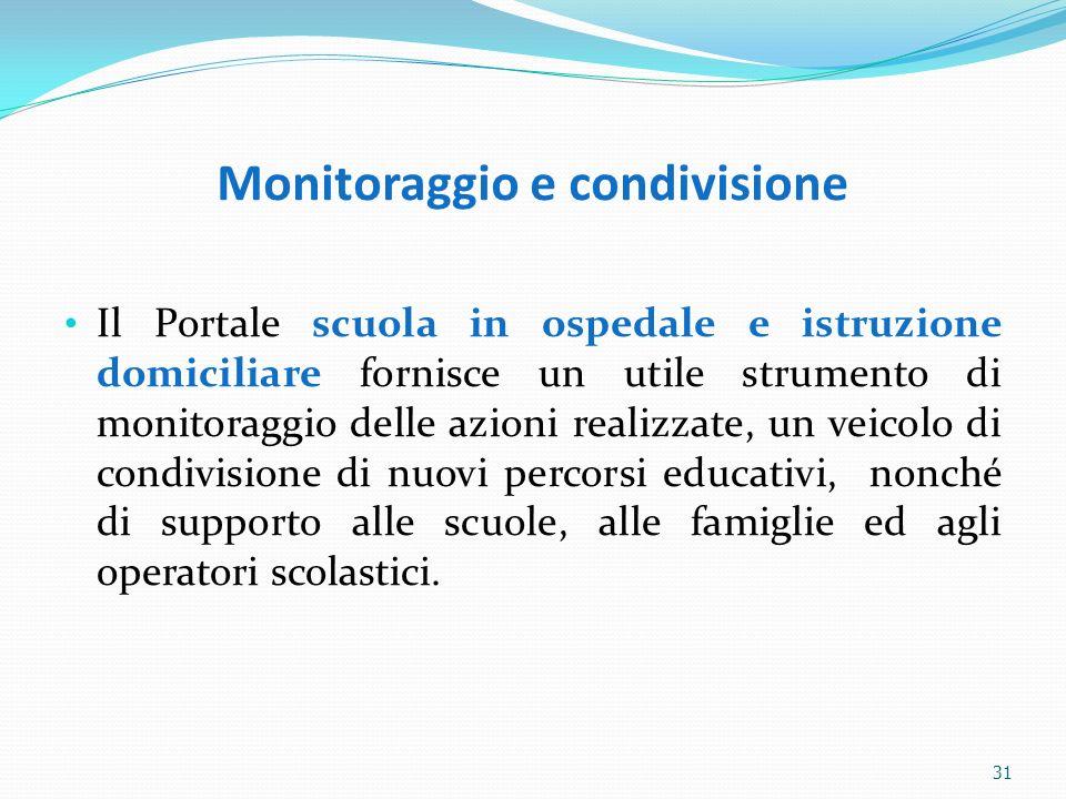 Monitoraggio e condivisione Il Portale scuola in ospedale e istruzione domiciliare fornisce un utile strumento di monitoraggio delle azioni realizzate