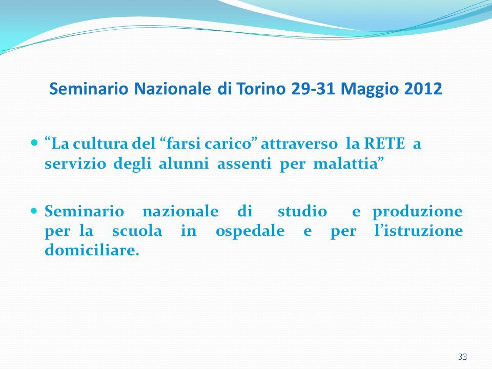 33 Seminario Nazionale di Torino 29-31 Maggio 2012 La cultura del farsi carico attraverso la RETE a servizio degli alunni assenti per malattia Seminar