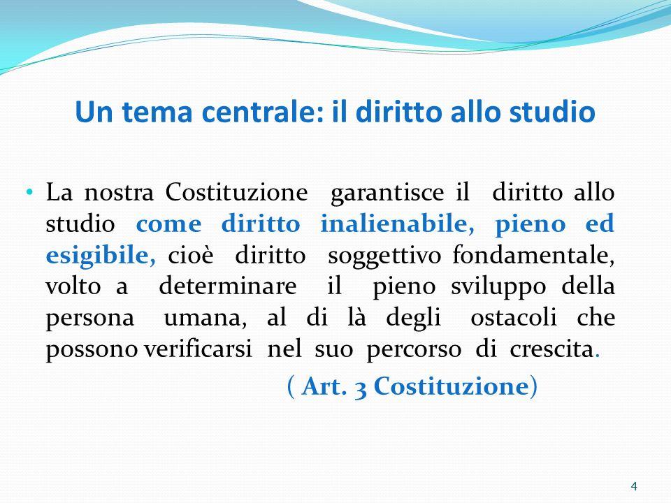 4 Un tema centrale: il diritto allo studio La nostra Costituzione garantisce il diritto allo studio come diritto inalienabile, pieno ed esigibile, cio