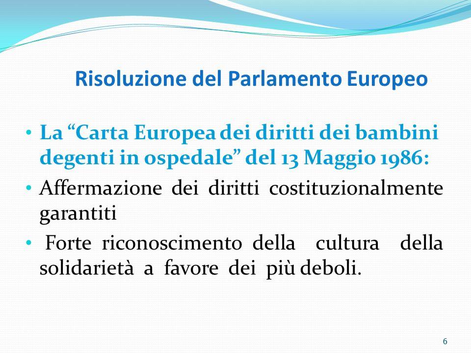 6 Risoluzione del Parlamento Europeo La Carta Europea dei diritti dei bambini degenti in ospedale del 13 Maggio 1986: Affermazione dei diritti costitu