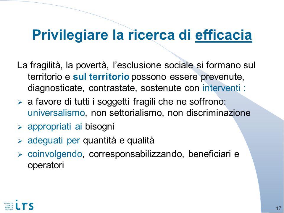 La fragilità, la povertà, lesclusione sociale si formano sul territorio e sul territorio possono essere prevenute, diagnosticate, contrastate, sostenu