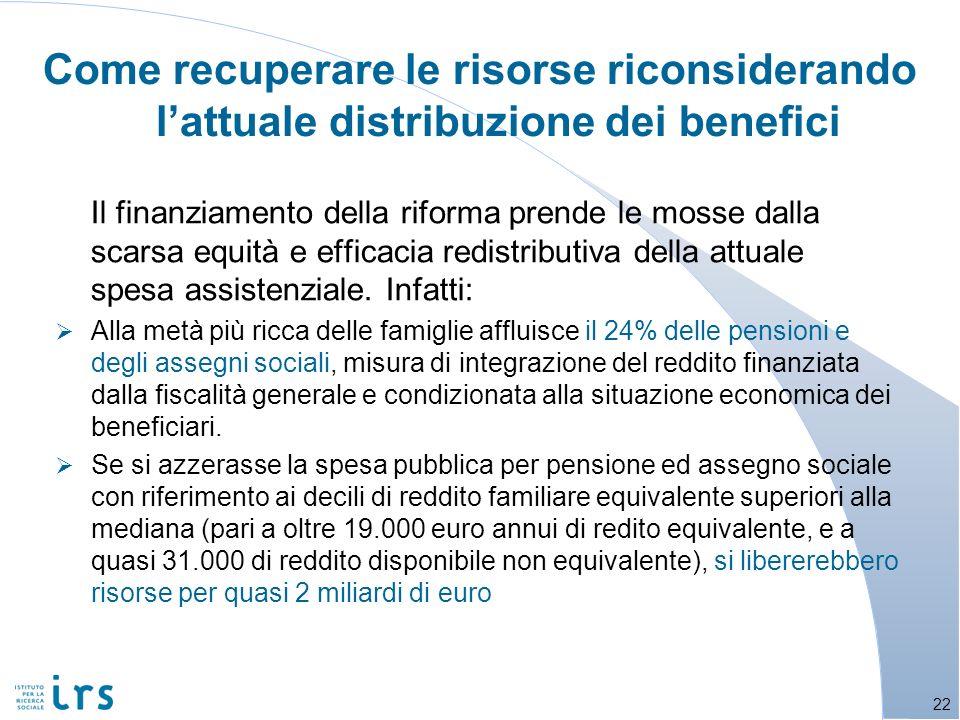 Come recuperare le risorse riconsiderando lattuale distribuzione dei benefici Il finanziamento della riforma prende le mosse dalla scarsa equità e eff