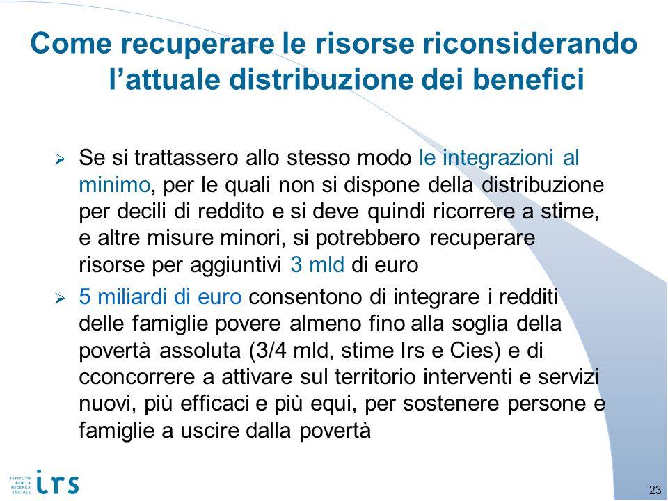 Come recuperare le risorse riconsiderando lattuale distribuzione dei benefici Se si trattassero allo stesso modo le integrazioni al minimo, per le qua