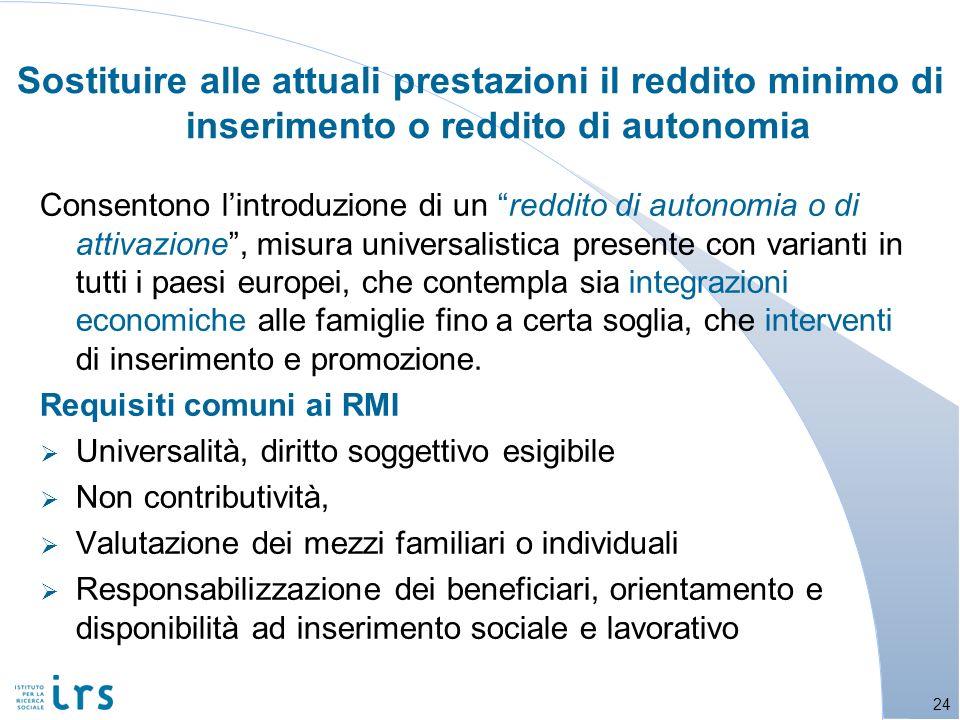 Sostituire alle attuali prestazioni il reddito minimo di inserimento o reddito di autonomia Consentono lintroduzione di un reddito di autonomia o di a