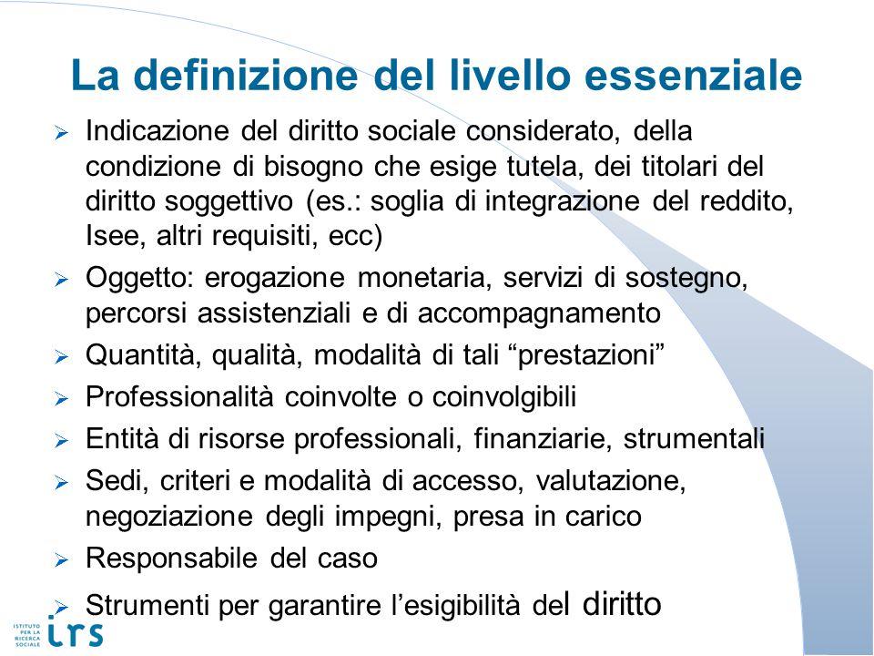 La definizione del livello essenziale Indicazione del diritto sociale considerato, della condizione di bisogno che esige tutela, dei titolari del diri