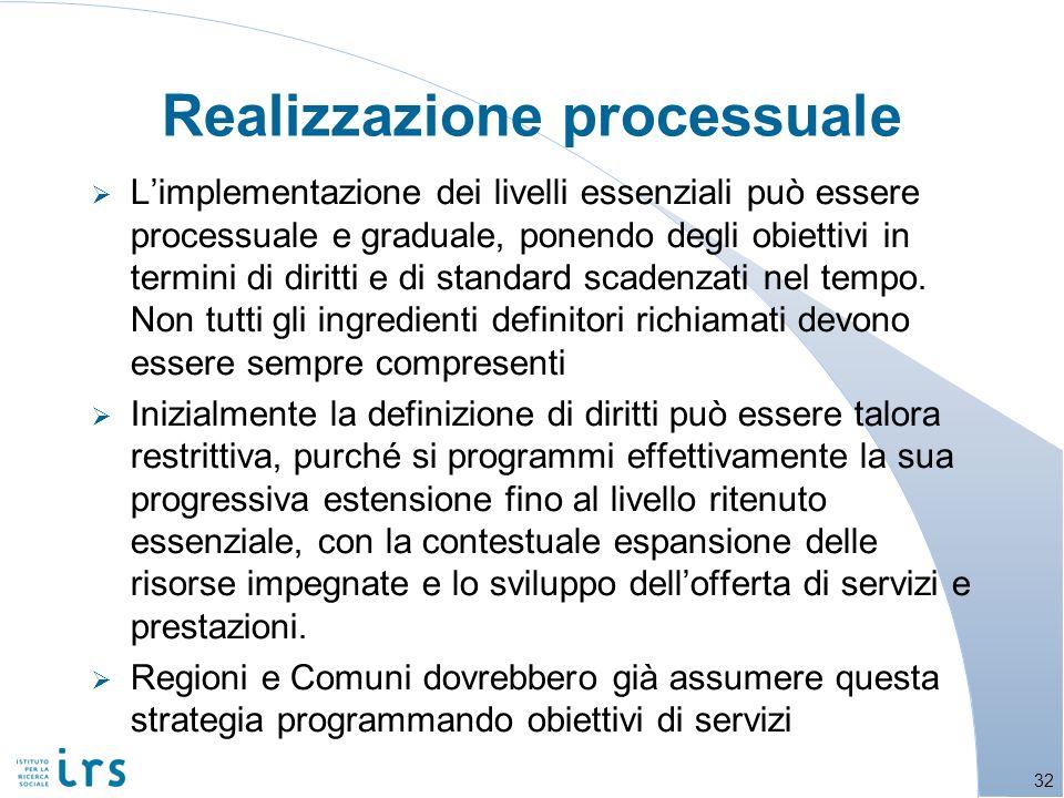 Limplementazione dei livelli essenziali può essere processuale e graduale, ponendo degli obiettivi in termini di diritti e di standard scadenzati nel