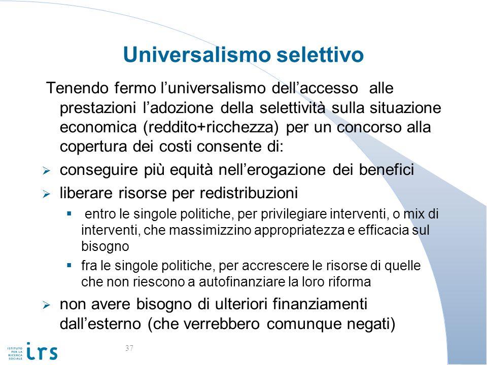 Universalismo selettivo Tenendo fermo luniversalismo dellaccesso alle prestazioni ladozione della selettività sulla situazione economica (reddito+ricc