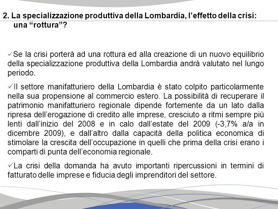 2. La specializzazione produttiva della Lombardia, leffetto della crisi: una rottura? Se la crisi porterà ad una rottura ed alla creazione di un nuovo