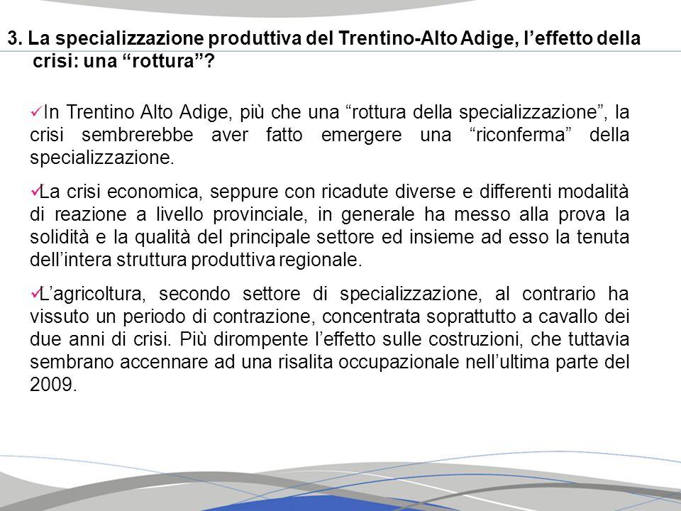 3. La specializzazione produttiva del Trentino-Alto Adige, leffetto della crisi: una rottura? In Trentino Alto Adige, più che una rottura della specia
