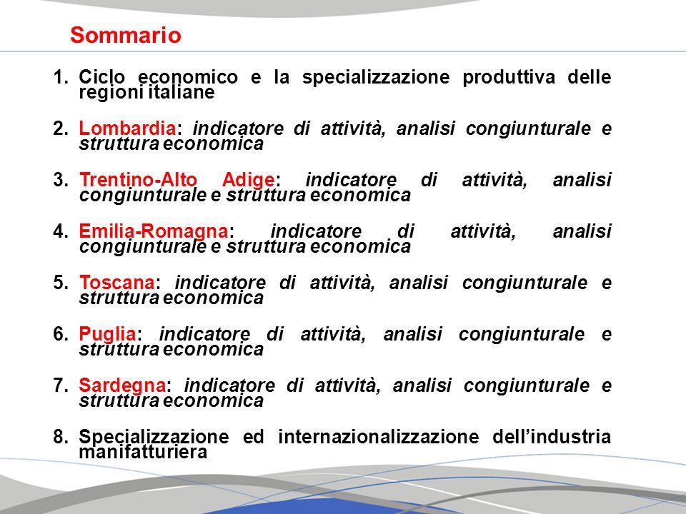 1.Ciclo economico e la specializzazione produttiva delle regioni italiane 2.Lombardia: indicatore di attività, analisi congiunturale e struttura econo