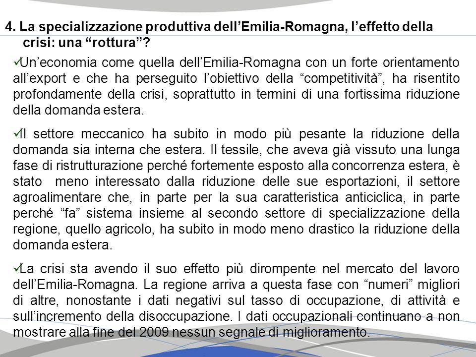 4. La specializzazione produttiva dellEmilia-Romagna, leffetto della crisi: una rottura? Uneconomia come quella dellEmilia-Romagna con un forte orient