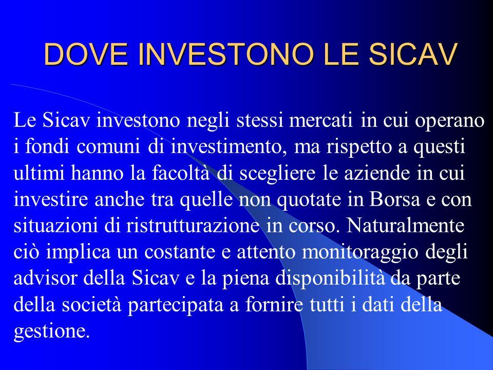 DOVE INVESTONO LE SICAV Le Sicav investono negli stessi mercati in cui operano i fondi comuni di investimento, ma rispetto a questi ultimi hanno la facoltà di scegliere le aziende in cui investire anche tra quelle non quotate in Borsa e con situazioni di ristrutturazione in corso.