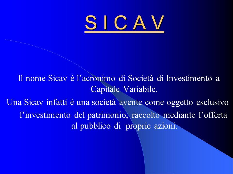 S I C A V Il nome Sicav è lacronimo di Società di Investimento a Capitale Variabile.