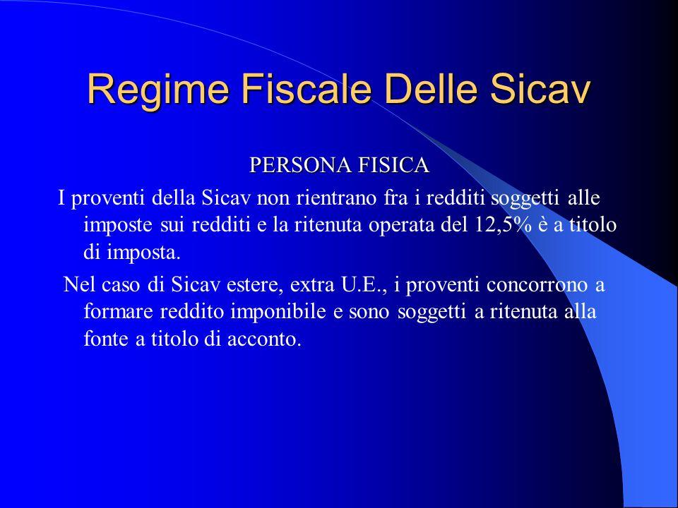 Regime Fiscale Delle Sicav PERSONA FISICA I proventi della Sicav non rientrano fra i redditi soggetti alle imposte sui redditi e la ritenuta operata del 12,5% è a titolo di imposta.
