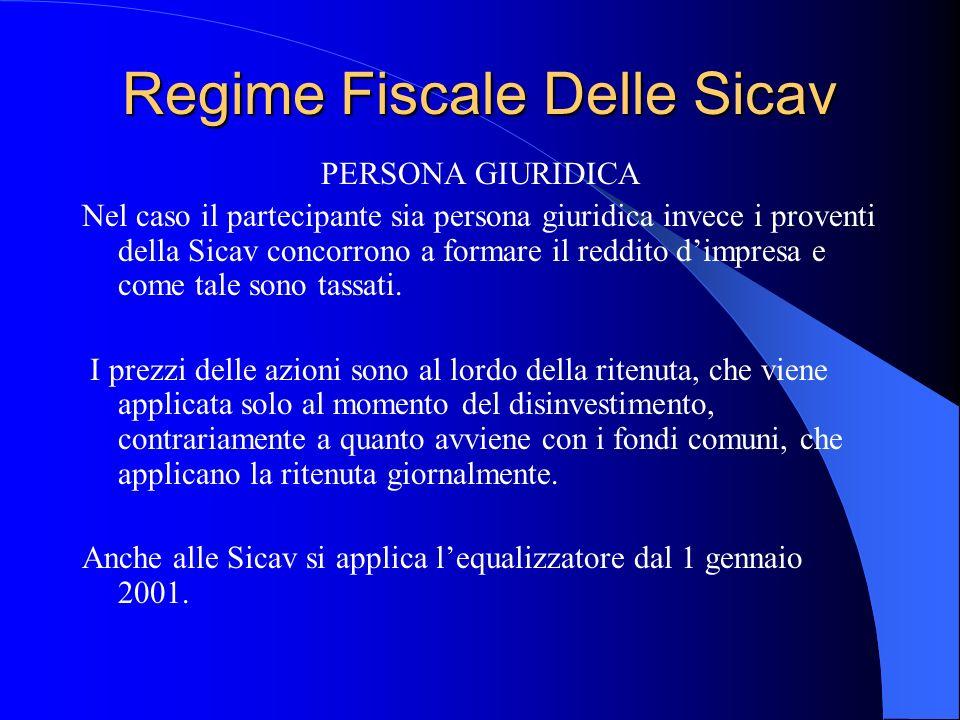 Regime Fiscale Delle Sicav PERSONA GIURIDICA Nel caso il partecipante sia persona giuridica invece i proventi della Sicav concorrono a formare il reddito dimpresa e come tale sono tassati.