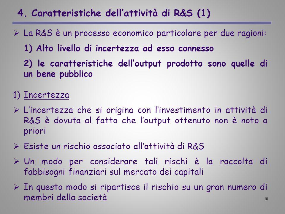 10 4. Caratteristiche dellattività di R&S (1) La R&S è un processo economico particolare per due ragioni: 1) Alto livello di incertezza ad esso connes