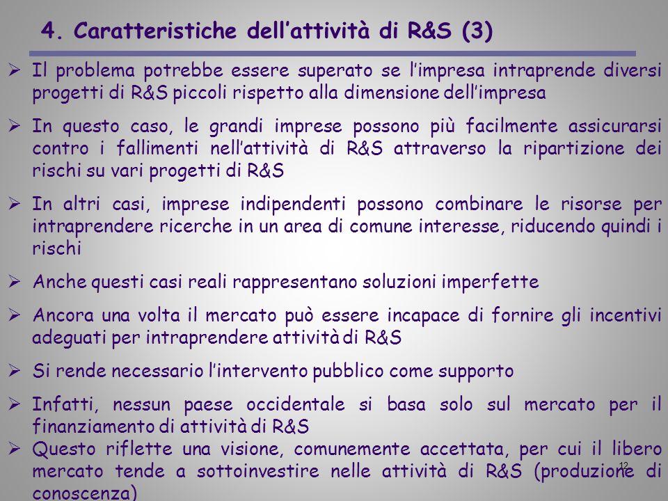 12 4. Caratteristiche dellattività di R&S (3) Il problema potrebbe essere superato se limpresa intraprende diversi progetti di R&S piccoli rispetto al