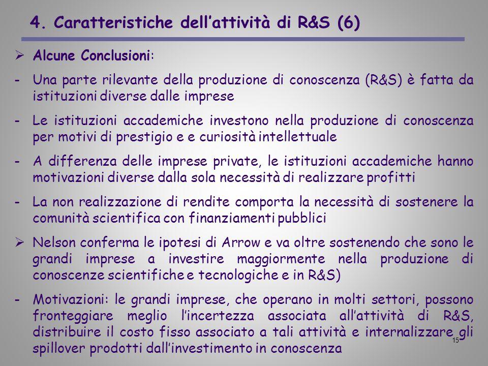 15 4. Caratteristiche dellattività di R&S (6) Alcune Conclusioni: -Una parte rilevante della produzione di conoscenza (R&S) è fatta da istituzioni div