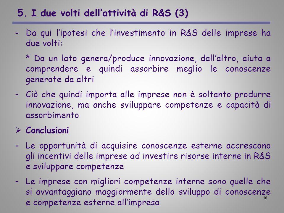 18 5. I due volti dellattività di R&S (3) -Da qui lipotesi che linvestimento in R&S delle imprese ha due volti: * Da un lato genera/produce innovazion