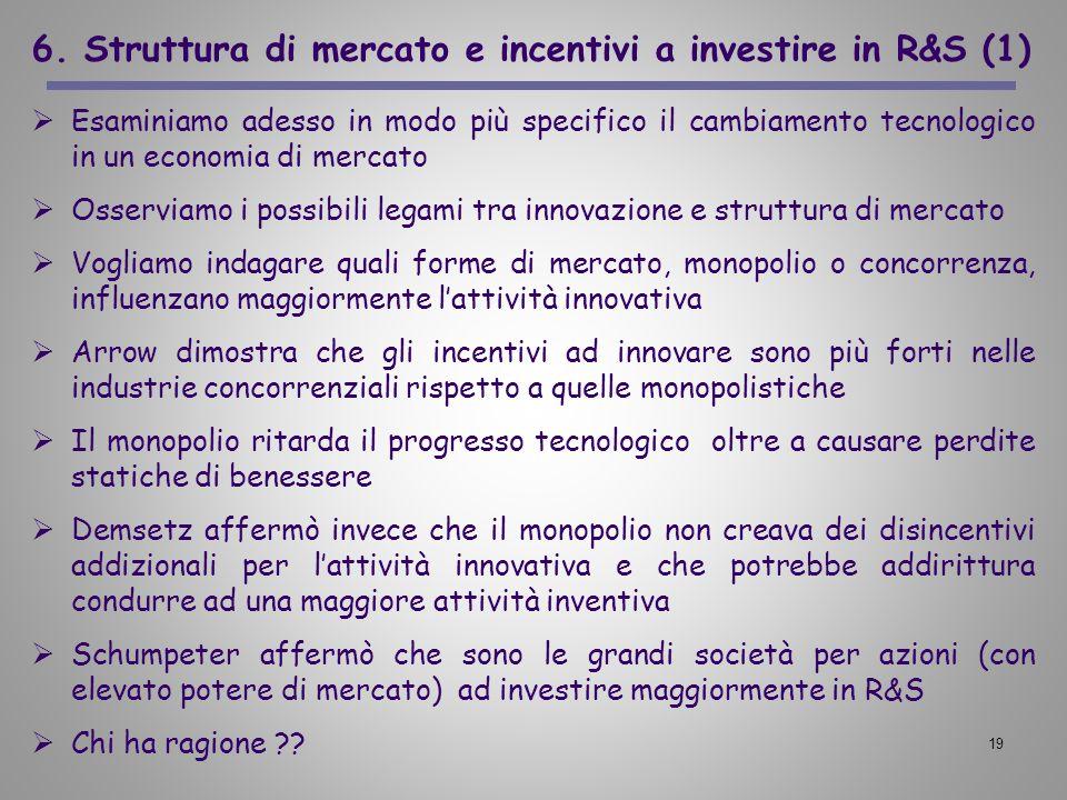 19 6. Struttura di mercato e incentivi a investire in R&S (1) Esaminiamo adesso in modo più specifico il cambiamento tecnologico in un economia di mer