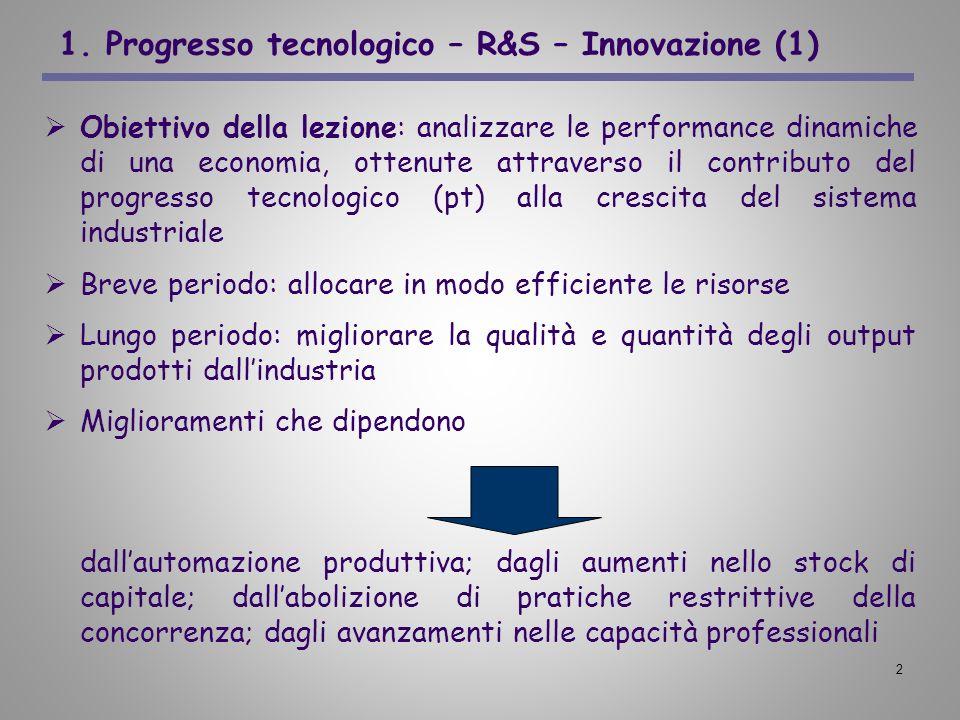 2 1. Progresso tecnologico – R&S – Innovazione (1) Obiettivo della lezione: analizzare le performance dinamiche di una economia, ottenute attraverso i