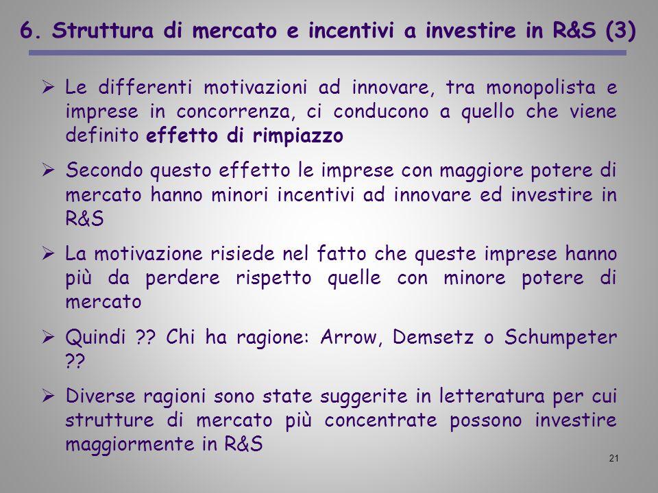 21 6. Struttura di mercato e incentivi a investire in R&S (3) Le differenti motivazioni ad innovare, tra monopolista e imprese in concorrenza, ci cond