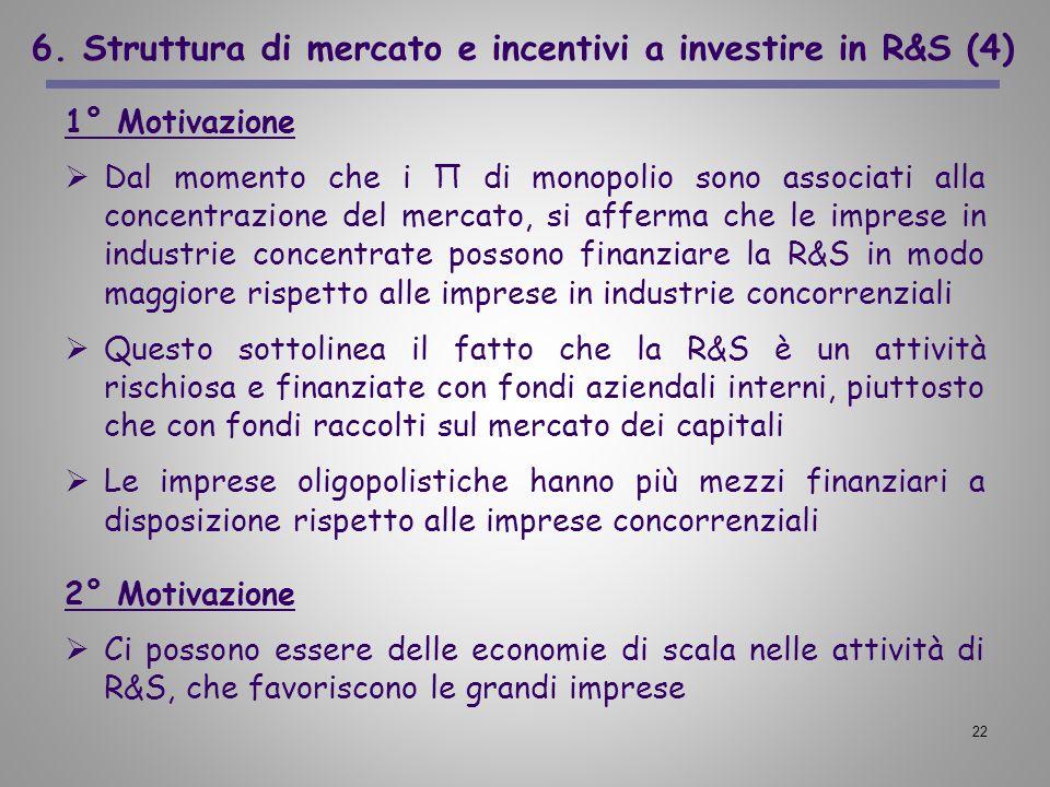 22 6. Struttura di mercato e incentivi a investire in R&S (4) 1° Motivazione Dal momento che i Π di monopolio sono associati alla concentrazione del m