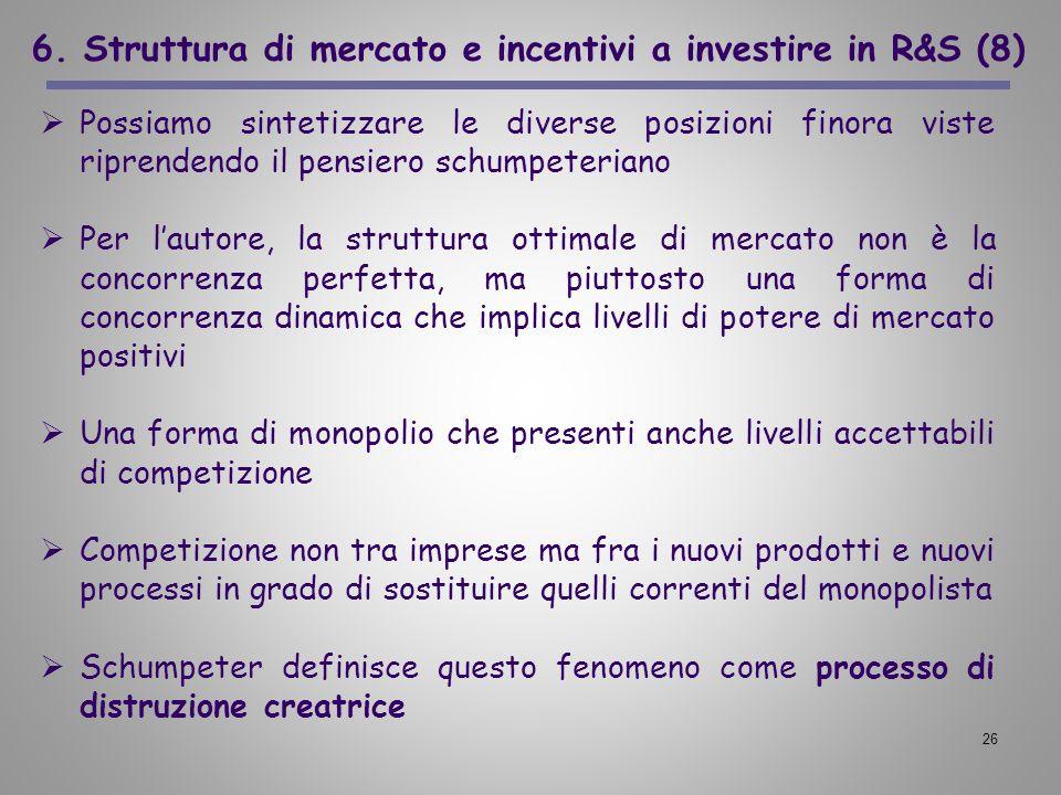 26 6. Struttura di mercato e incentivi a investire in R&S (8) Possiamo sintetizzare le diverse posizioni finora viste riprendendo il pensiero schumpet
