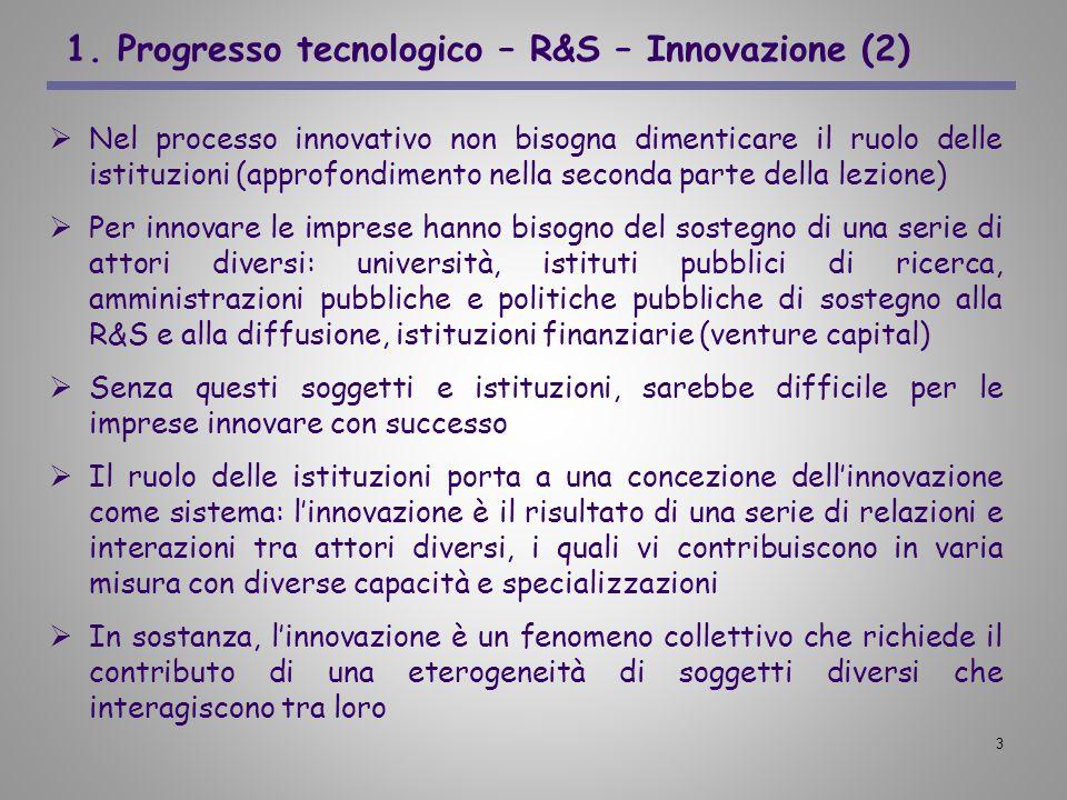 3 1. Progresso tecnologico – R&S – Innovazione (2) Nel processo innovativo non bisogna dimenticare il ruolo delle istituzioni (approfondimento nella s
