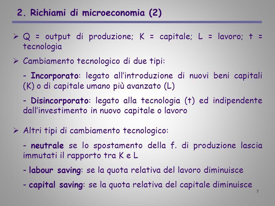 7 2. Richiami di microeconomia (2) Q = output di produzione; K = capitale; L = lavoro; t = tecnologia Cambiamento tecnologico di due tipi: - Incorpora