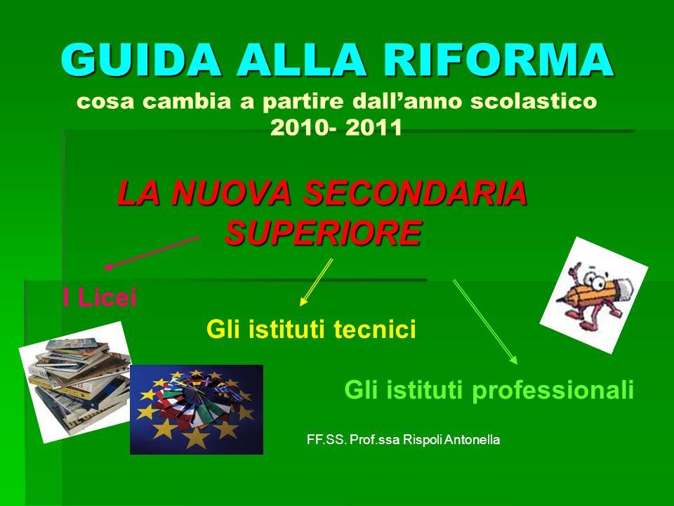 GUIDA ALLA RIFORMA GUIDA ALLA RIFORMA cosa cambia a partire dallanno scolastico 2010- 2011 LA NUOVA SECONDARIA SUPERIORE I Licei Gli istituti tecnici