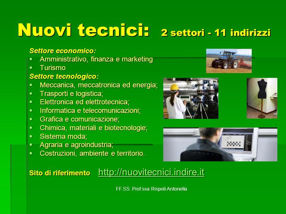 Nuovi tecnici: 2 settori - 11 indirizzi Settore economico: Amministrativo, finanza e marketing Amministrativo, finanza e marketing Turismo Turismo Set