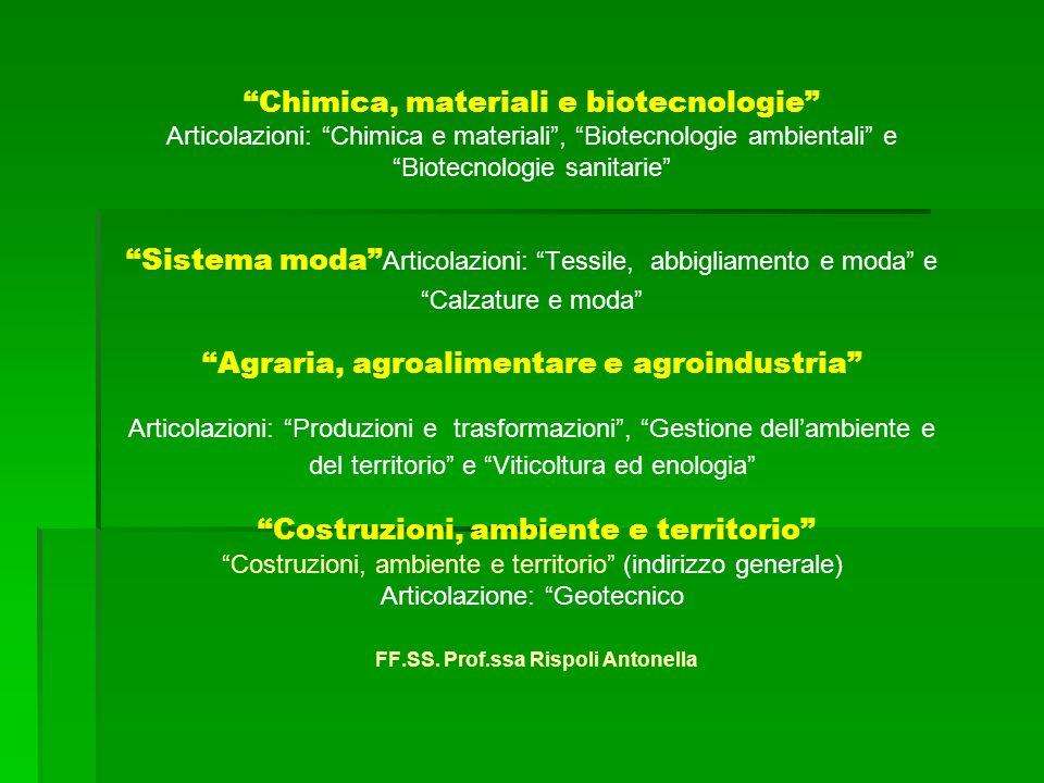 Sistema moda Chimica, materiali e biotecnologie Articolazioni: Chimica e materiali, Biotecnologie ambientali e Biotecnologie sanitarie Sistema moda Ar