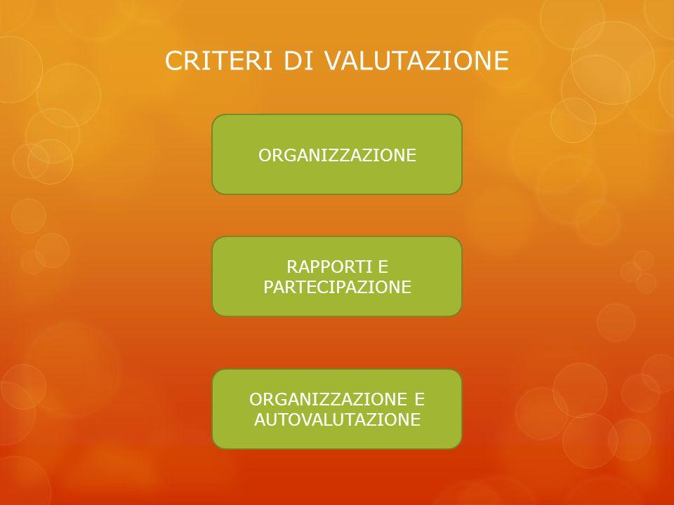 CRITERI DI VALUTAZIONE ORGANIZZAZIONE RAPPORTI E PARTECIPAZIONE ORGANIZZAZIONE E AUTOVALUTAZIONE