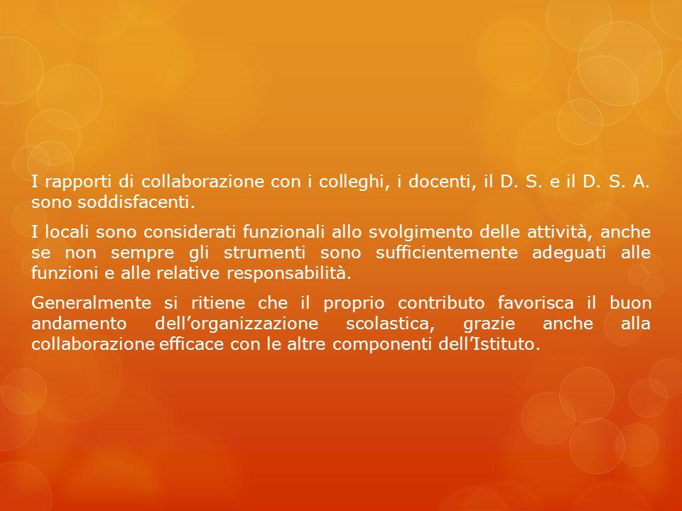 I rapporti di collaborazione con i colleghi, i docenti, il D. S. e il D. S. A. sono soddisfacenti. I locali sono considerati funzionali allo svolgimen