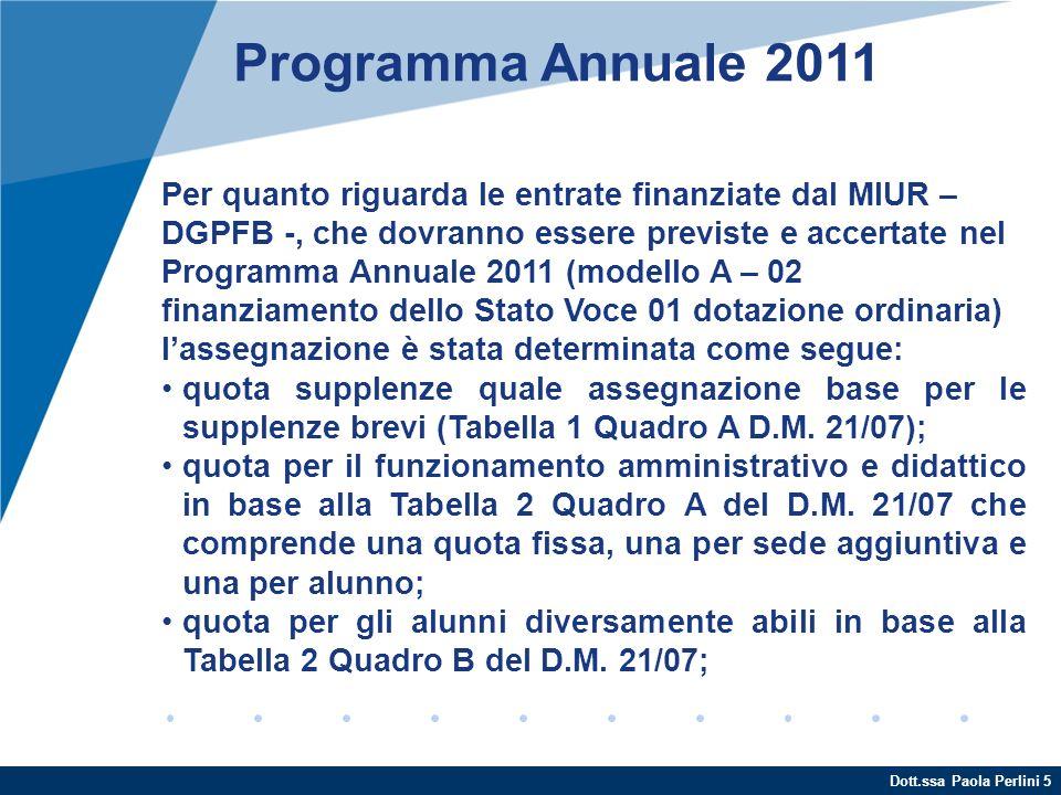 Dott.ssa Paola Perlini 5 Programma Annuale 2011 Per quanto riguarda le entrate finanziate dal MIUR – DGPFB -, che dovranno essere previste e accertate