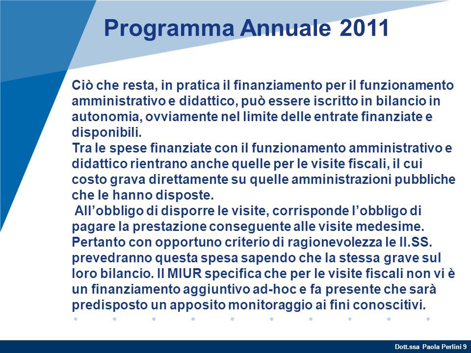 Dott.ssa Paola Perlini 9 Programma Annuale 2011 Ciò che resta, in pratica il finanziamento per il funzionamento amministrativo e didattico, può essere