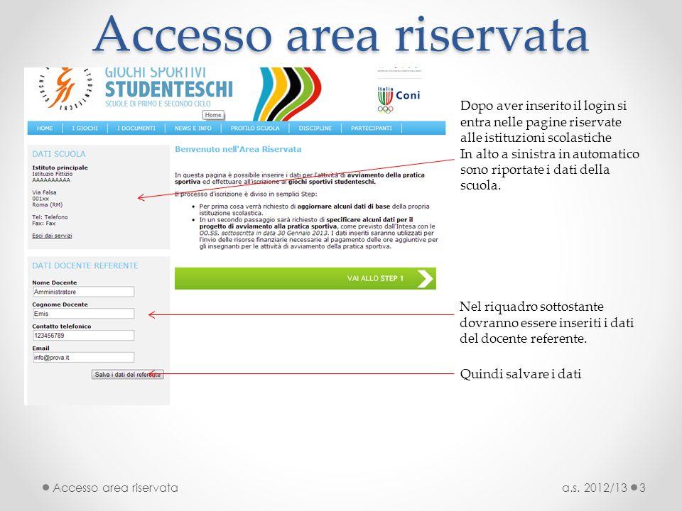 Accesso area riservata a.s. 2012/13Accesso area riservata3 Dopo aver inserito il login si entra nelle pagine riservate alle istituzioni scolastiche In