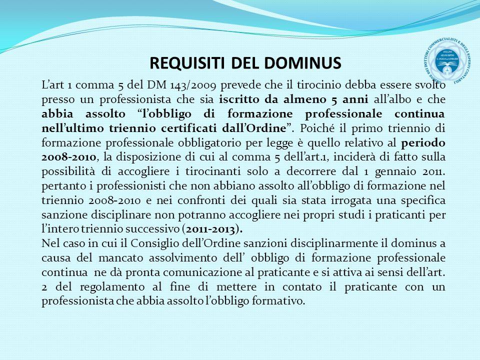 REQUISITI DEL DOMINUS Lart 1 comma 5 del DM 143/2009 prevede che il tirocinio debba essere svolto presso un professionista che sia iscritto da almeno